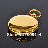 New Gold Mirror Case Mens Analog Quartz Pocket Watch with Chain  W014