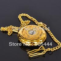 New Gold Flowers Design Mens Analog Quartz Luxury Elegant Pocket Watch W012