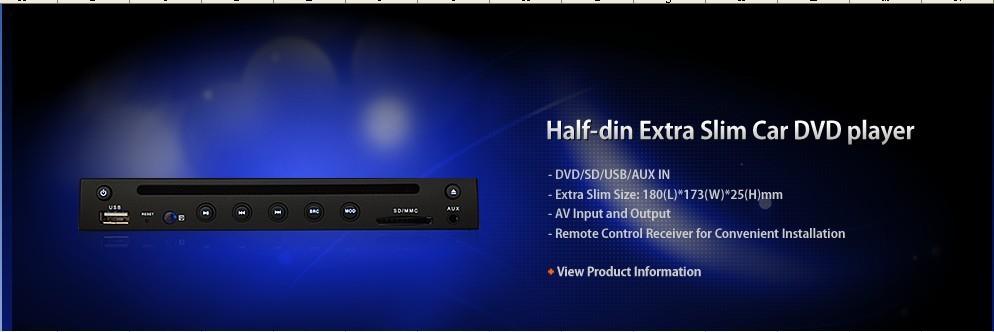 Car DVD Player with SD/USB, Super Slim, Compact Design(Hong Kong)