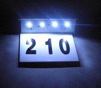 New Wholesale Solar stainless steel  doorplate  ligh+4 white  led bulb /Solar Number plate lights,
