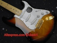 Free shipping!    New arrival  Stratocaster American HSS   in sunburst   gold 6 string electric guitar