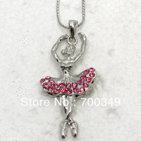 Wholesale 12piece/lot Rose Crystal Rhinestone Ballerina Pendant Necklace Fashion Jewelry F179 J