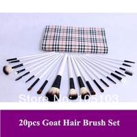 Free Shipping~ Pro 20 PCS natural animal Goat Hair Brushes Set Make Up Brush With Brown Case Dropshipping!