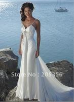 Free shipping100% custom-made wholesale sexy stylish chiffon a-line sexy spaghetti strap wedding dress