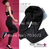 10pcs/lot,Free shipping+Black thermal dual-layer thicker Leggings,Bamboo Fiber leggings,/Wholesale