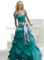 Freeship Sleeveless Floor Length Satin Formal grown Bridesmaid dress Blue