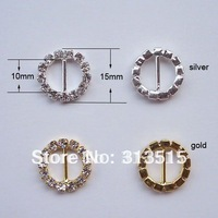 (M0163-10mm inner bar) round rhinestone buckle for wedding invitation card in gold and silver