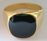 Free shipping ;Ring Size8-11.Exquisite Black Onyx 18K GP Yellow Gold  Men's Ring; Style free collocation. 3 preferential prices.
