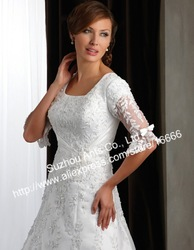 Graceful Elegant A Line Satin Butterfly Design Lace Wedding Gowns Half Sleeve SL109(China (Mainland))
