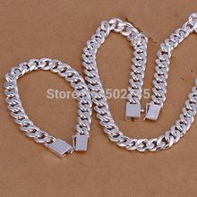 Wholesale 925 sterling silver necklace&bracelet,men's fashion jewelry set&gift