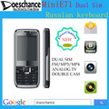 free shipping mini E71 TV mobile phone quad band dual sim unlocked phone polish russian menu