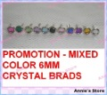 PROMOTION! Wholesale rhinestone brads, Mixed color 6mm crystal brads + Free shiping