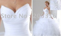 Free shipping plus size ruched flowered beaded sweetheart sexy ball gown bridal wedding dress