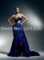 Free shipping sexy sheath long train ruffle stylish elegant Crystal evening dresses
