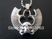 Wholesale 1pcs Guaranteed 100% 316L New Stainless Steel Unique Skull Pendant Necklace + free shipping