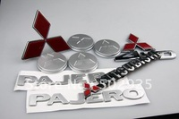 mitsubishi pajero logo 9 pieces ABS electroplate wholesale modification mitsubishi 4WD pajero UPS EMS CHINA POST AIR