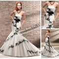 Holiday Sale! Designer Beaded Organza Mermaid Ivory and Black Lace Wedding Dress 2013 MG802