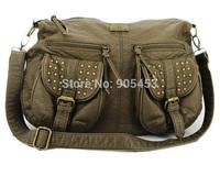 2013 New Free shipping 4 Colors Rivets Detail Women Handbags PU Leather Bags Shoulder Bag QQ861