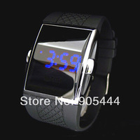 New Blue LED Date Digital Quartz Mens Wrist Rubber Black Band Sport Watch W027