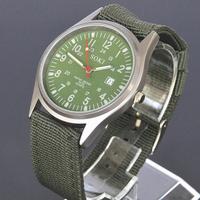 New SOKI Green Date Mens Military Analog Quartz Wrist Sport Nylon Band Gift Watch W035