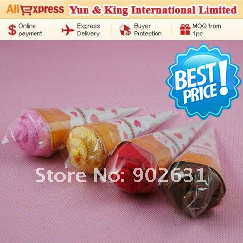 Free Shipping/Accept Credit Card/10pcs Assorted Colors New novelty items sweet icecream towel children kids gift(China (Mainland))
