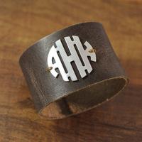 custom leather and 925 sterling silver monogram bracelet