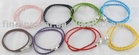 50 MIXED COLOURS LEATHER DOUBLE BRACELETS FIT BEAD CHARM #19952