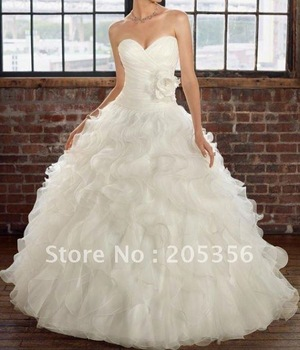 Free shipping designer flowered ruched elegant sweetheart ball gown wedding dress