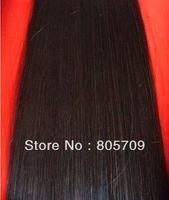 "20"" #1b 80g natural black 100% real human hair clips in extensions real straight full head high quality"