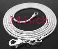 Wholesale Free shipping - 24 inch long 1mm 925 sterling silver snake chain c1