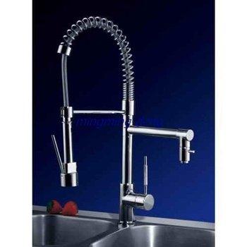 Single Handle Chrome Centerset Pull-out Kitchen Faucet