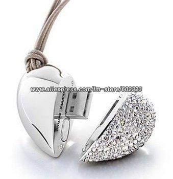Free Shipping, 4 gb heart shape crystal usb flash drive,usb flash memory