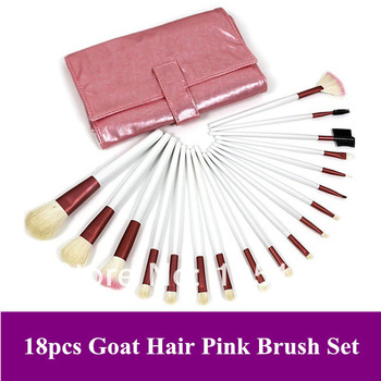 Free Shipping~ Professional Pink 18 Pcs Makeup animal goat hair Brushes Set/ Cosmetic Brush & Leather Bag