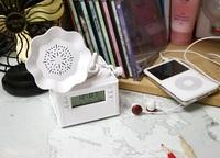 Mini white retro gramophone, radio, clock, alarm clock+FREESHIPPING