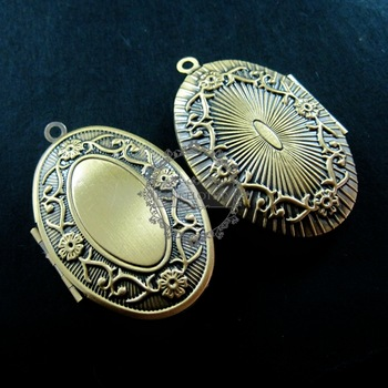 26x40mm vintage style antiqued bronze oval flower photo locket DIY pendant charm supplies 1121021