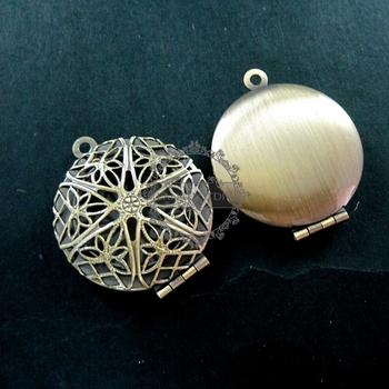 27mm vintage style round antiqued bronze filigree photo locket pendant charm DIY supplies 1111002