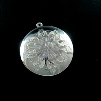 33mm silver plated iron round filigree photo locket pendant charm DIY supplies 1112004
