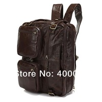 Free Shipp Wholesale 5Pcs/Lot Fashion Multipurpose Genuine Leather Men Laptop Backpacks Shoulder Bag Men Travel Bags#7061C