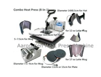 Combo Heat Press Machine (8 in 1),press machine,mug/cap/plate press machine,heat transfer machine,sublimation machine