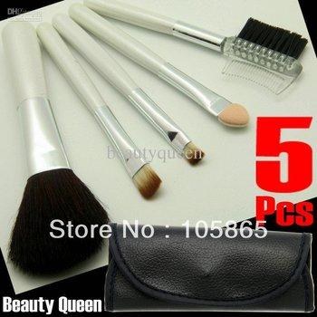 5 Pcs MINI MAKEUP BRUSH SET COSMETIC BRUSHES EYE SHADOW GOAT HAIR Black Bag Leather Case Set Kit