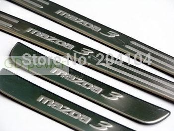 high quality mazda 3 stainless steel door sill scuff plate threshold mazda accessories 4pcs