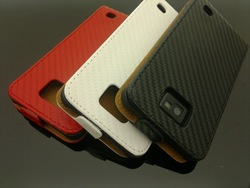 For Samsung I9100 Galaxy S2 Carbon Fiber Leather Case(China (Mainland))
