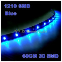 Free Shipping car smd strip light  + Wholesale + 10pcs/lot +  60cm 30 3528 1210 SMD LED waterproof strip blue color