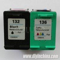 Wholesale for HP 132/C9362H Black Color Ink Cartridges 136/C9361H  for HP DJ 5440/PSC 1510/Photosmart 7830 Pritner