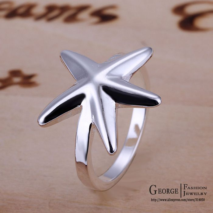 GSSPR109 Promotion,free shipping,Classic silver starfish ring,Unisex ring,wholesale fashion jewelry(China (Mainland))