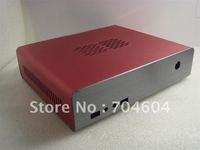 MINI-ITX HTPC CASE,Full aluminum alloy (RED) DC-ATX PSU/2.5' HDD/Front USB / AUDIO Interface
