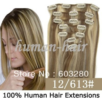 "Free shipping 22"" (55cm) 100% Natural Clips in Remy human hair extension wefts #P12/613 Piano color 80gram 7pcs/set"