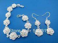 wholesale  earrings+brecelet chain rose pendant 925 Sterling Silver S230