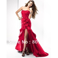 2012 Free Shipping A-line Strapless Ruffels Taffeta High Low Short Red Prom Dress FIGL-P2673