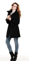Women winter new fashion double-breasted wool coat outerwear  long trench long sleeve US size winter overcoat